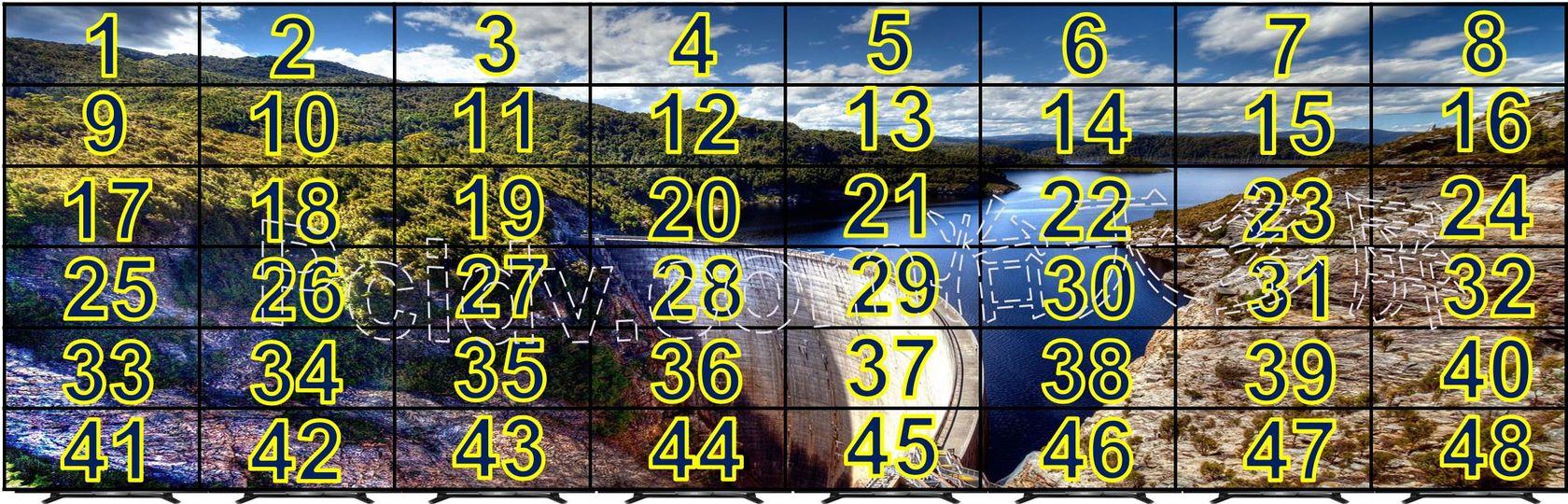 48屏拼接点对点显示内置多屏宝多屏拼接方案
